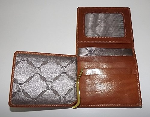 Leather Italia Giudi Men's ID Wallet Money Clip L Cognac fold Tuscan gwHHdt