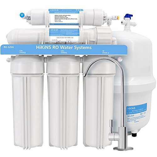 HiKiNS Reverse Osmosis Water Filtration System RO-125G 5-Stage Home Drinking RO Water Filter System with Large Flow 125GPD Membrane and Efficiency of Water Saving -FDA Certified