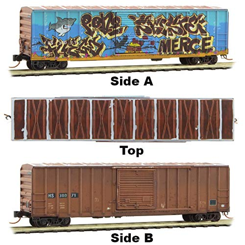 (Micro-Trains MTL N-Scale 50ft Rib Side Box Car HS Weathered/Shark Graffiti 30071)