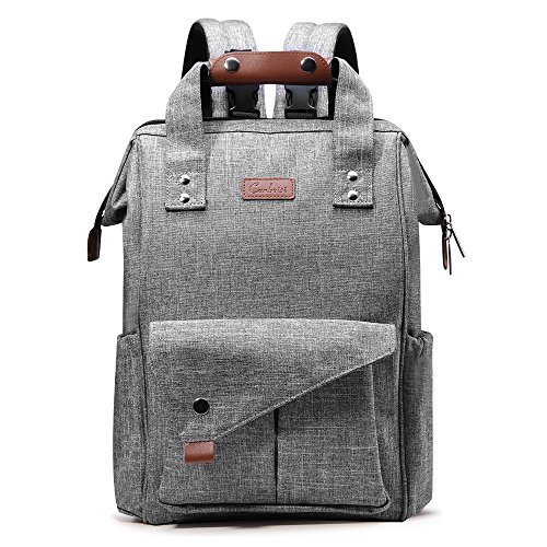 Diaper Bag Backpack, Canbeisi Waterproof Large Nappy Bags with Insulated Pockets, Changing Mat and Stroller Buckles for Travel, Stylish Durable for Mom Dad(Grey)