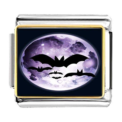 (GiftJewelryShop Gold Plated Halloween Bats Fly Over Moon Bracelet Link Photo Italian Charms)