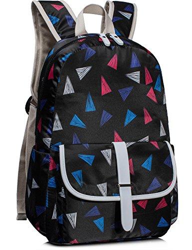 Leaper Cute School Backpack Laptop Bag Shoulder Daypack Handbag Triangles Black