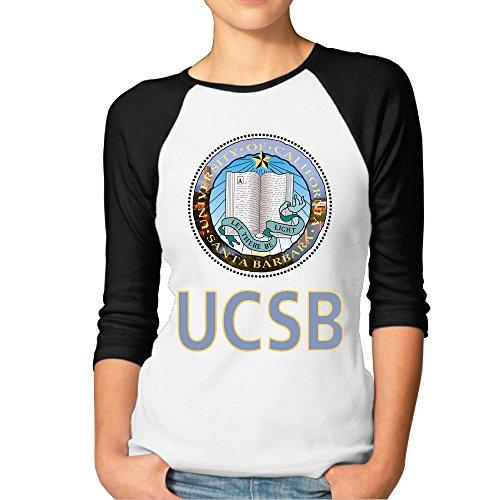 RERR Women's University Of California Ucsb Santa Barbara Raglan Tee Baseball Shirt Black Size XXL