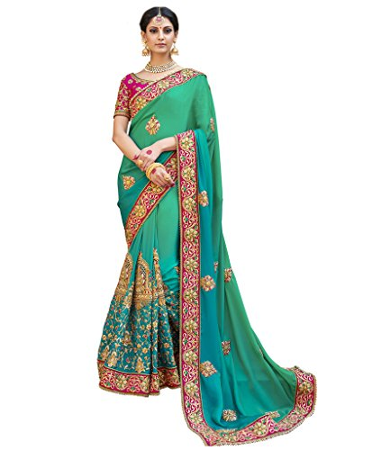 Indian Ethnic Faux Georgette Green and Blue Coloured Fanc...