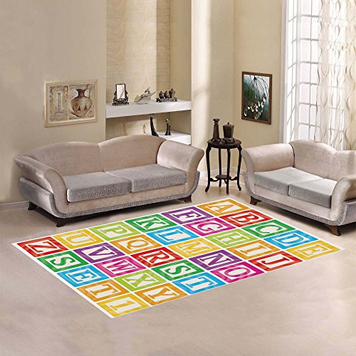 Rug Abc Feelings (InterestPrint Playtime Collection ABC Alphabet Area Rug Floor Mat 7' x 5' Feet, Childrens Educational Learning Throw Rayon Fiber Carpet Rugs for Home Living Dining Room Decoration)