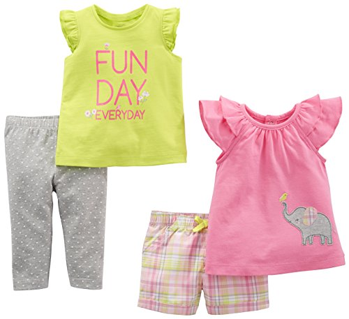 Simple Joys by Carter's Baby Girls' 4-Piece Playwear Set, Pink Elephant/Lime Plaid, 12 Months