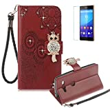 Funyye Brown Strap Cover for Sony Xperia XZ2 Compact,Cute 3D Diamond Owl Pattern Design Magnetic Flip Wallet Detachable Glitter Case with Stand Card Holder Slots Cover for Sony Xperia XZ2 Compact,Anti Scratch Full Body Protective Soft Silicone PU Leather Case for Sony Xperia XZ2 Compact + 1 x Free Screen Protector