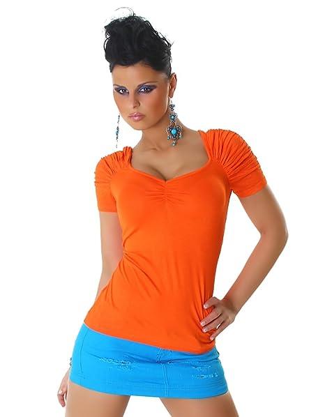 Voyelles Damen T-Shirt Top kurzarm gerafft V-Auschnitt - Orange,  Einheitsgröße 32