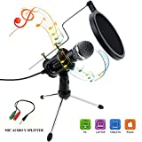 Philonext Condenser Microphone, Portable Mini Condenser Microphone, 3.5mm Plug & Play Home Studio Vocal Recording Microphone with Tripod Stand for PC Laptop Tablet and Phone (Style 2)