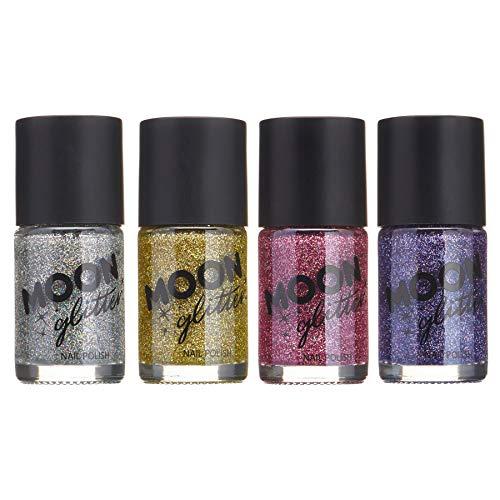 Holographic Glitter Nail Polish by Moon Glitter - 0.47fl oz - Set of 4 colours (Best Nail Polish Remover Uk)