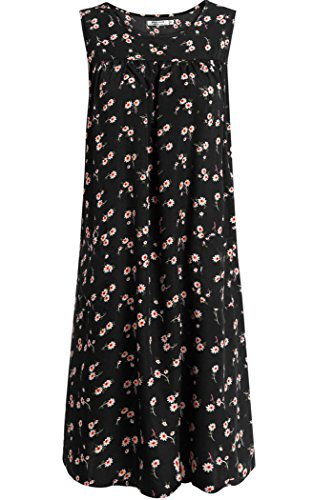 Black House Print With Sleeveless Women Sundress For Dresses 2 POGT Pockets Shift Floral Dress wq7HqpYx