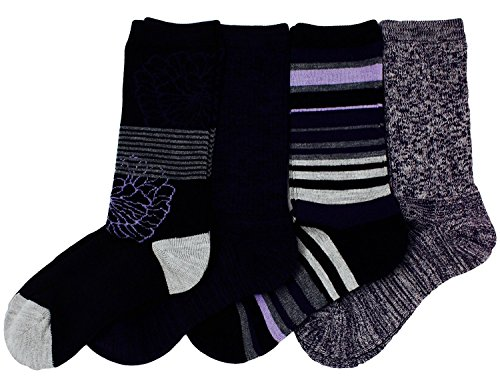Kirkland Signature Ladies' Trail Socks Merino Wool (Purple), 4 Pairs, Fits Shoe Size: 4-10.5