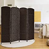 magnificent tv room accent wall Rose Home Fashion RHF 6 ft. Tall Diamond Weave Fiber Room Divider 6 Panel (Dark Coffee, 4 Panel)