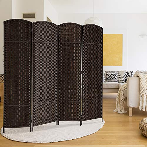 - Rose Home Fashion RHF 6 ft. Tall Diamond Weave Fiber Room Divider 6 Panel (Dark Coffee, 4 Panel)