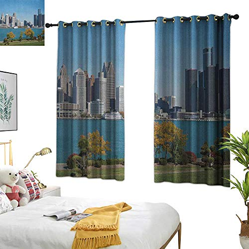 red Curtains Detroit,Industrial City Center Shoreline River Scenic Panoramic View in a Sunny Day, Blue Green Silver 54
