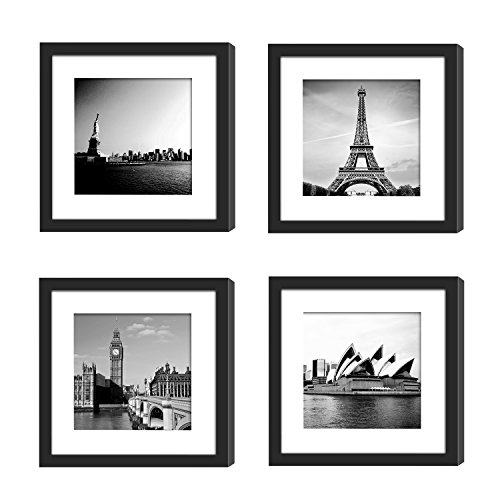 4PCs 11x11 Picture Frames Black with 2 Mats for 8x8 or 4x4 Pictures Wood Instagram Photo Frames