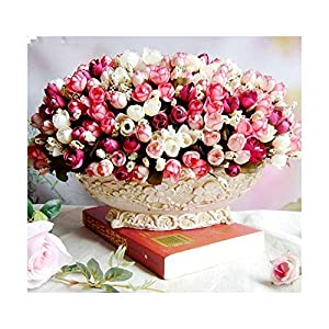 HANBINGPO Autumn 15 Heads/Bouquet Small Bud Roses Bract Artificial Flower Silk Rose DIY Wedding Home Christmas Decor Flowers Rose Gift 39