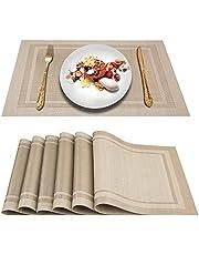 ARTAND Bordstabletter, Bordsunderlägg uppsättning av 6, Vävd Vinyl bordsmatta, Halkfri Värmebeständig Tvättbar Placeringsmattor (Beige)