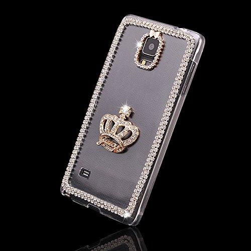 AYAMAYA Feminine Series Luxury 3D Bling Crystal Diamond Gold Crown Hard Case Cover for Samsung Galaxy Note 4 N9100