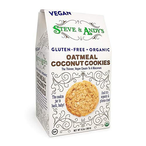 Organic Vegan Oatmeal Coconut Cookies, Gluten Free by Steve and Andy's -- Soft, and Chewy Cookie, Non GMO, No Corn Syrup, No Tree Nuts, Kosher (Vegan Oatmeal Coconut, Pack of 1) (Gluten Free Cookies)