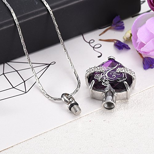 Purple Always In My heart Crystal&Stainless Steel Cremation Jewelry Urn Necklace for Ashes