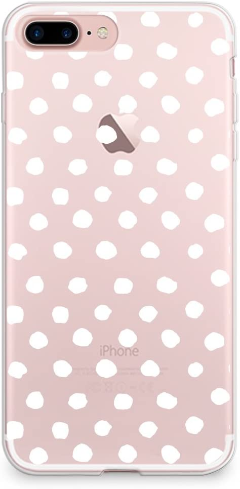 CasesByLorraine Compatible with iPhone 8 Plus/iPhone 7 Plus Case, White Polka Dots Pattern Clear Transparent Flexible TPU Soft Gel Protective Cover for iPhone 7/8 Plus 5.5