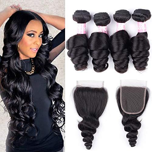 YUZHU Loose Wave Human Hair Bundles with Closure 22