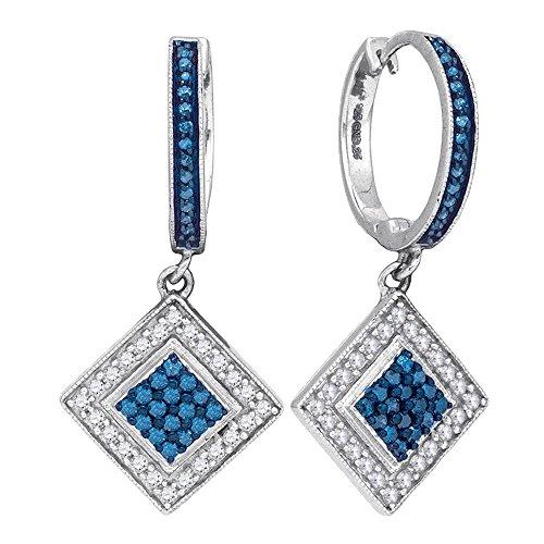 Diamond Fancy Dangle (10kt White Gold Womens Round Blue Color Enhanced Diamond Square Dangle Earrings 1/2 Cttw)