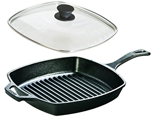(Lodge Seasoned Cast Iron Cookware Set - Square Grill Pan with Square Tempered Glass Lid (10.5 Inch))