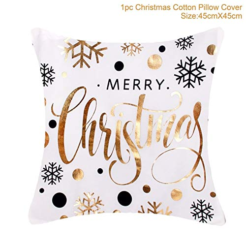 JEWH Merry Christmas Decoration For Home - Christmas Ornaments Christmas - Deer Santa Claus Happy New Year Decor Christmas (Gold Pillowcase)