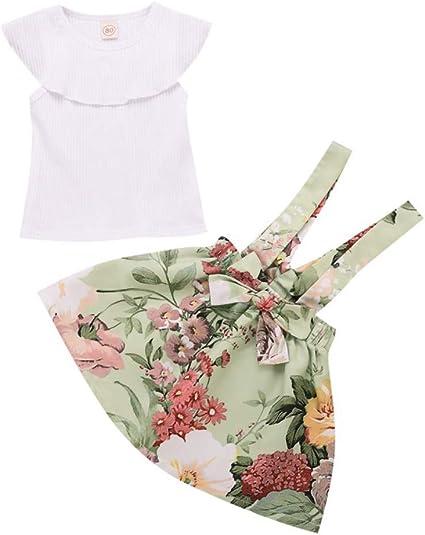 Miyanuby Kleinkind Baby M/ädchen Kleidung Set Kurzarm Crewneck T-Shirt Top Blumenkleid 2 St/ück R/öcke Outfit Set