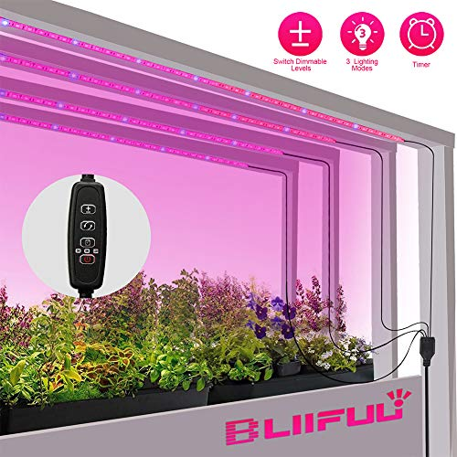 Grow Light Plant,Bliifuu Adjustable 4pcs Timing Growing Lamp Grow Light Strips with 2A Power Adapter Red/Blue 4:1 Flexible Soft Grow Light Strips with 3/9/12H Memory Timing for Indoor Plants, Hydropon