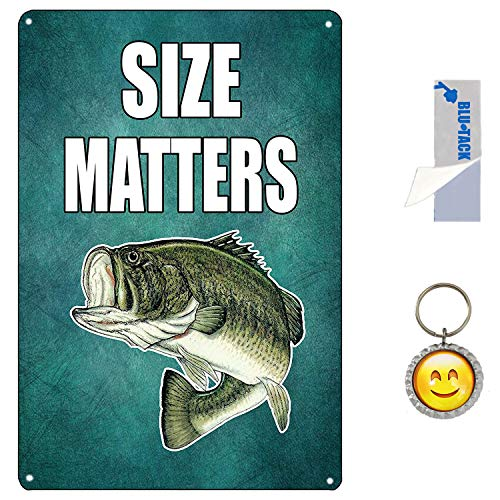 M-Mount Fish Size Matters Beer Free Drinks Funny Tin Signs Vintage Bar Pub Diner Cafe Wall Decor Home Decor Retro Art Poster Sign 8X12Inch ()