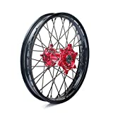 TARAZON 19x2.15 MX Rear Complete Wheel Set Rim Spokes Red Hub for Honda CR125R CR250R CRF250R 2004-2013 CRF450R 2002-2012