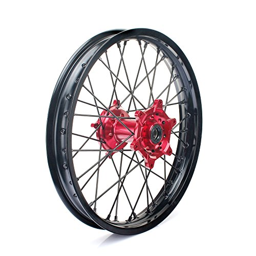 TARAZON 21'' 18'' Off-road Complete Wheel Set Rims Spokes Red Hubs for Honda CRF250R 04-13 CRF450R 04-12 CRF 250X 450X 04-16 by TARAZON (Image #4)