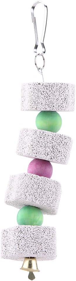 Juguete Forma de Cadena Columpio de Piedra de Molienda Jaula Molar Hámster Loro Dientes de Ave Colgante Masticar Mineral Gris Claro