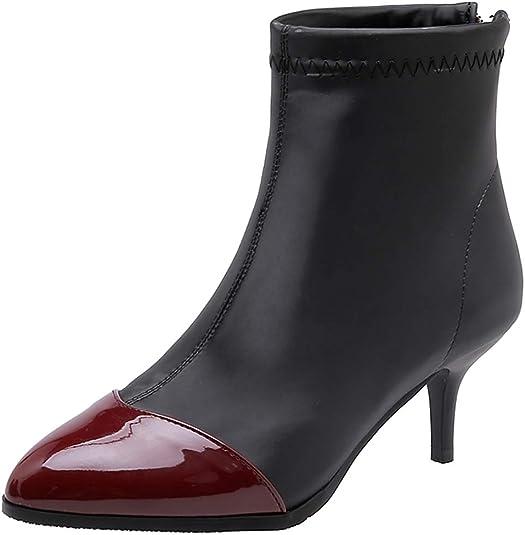 Dieenia Women Classic Block Heel Ankle Boots Zip