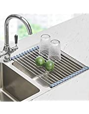 Seropy Foldable Sink Rack Mat Stainless Steel Wire Dish Drying Rack for Kitchen Sink Counter Cups Vegetables Fruits, Roll Up Dish Drying Rack, Over the Sink Dish Drying Rack Kitchen Rolling Dish Drainer(17''x11.8'')