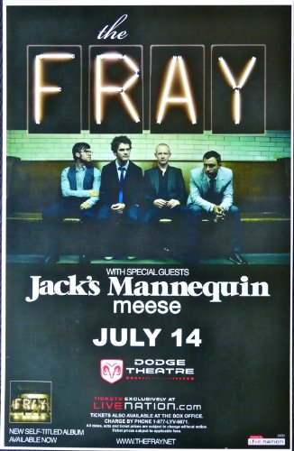 The Fray - Jack's Mannequin - Live at the Dodge Theater - Rare Tour Advertising Poster - 11x17