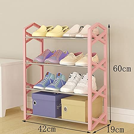 YXX- Iron Small Shoe Rack 4 Tiers Shoebox Plant Flower Stand Storage Shelf Bookshelf Plastic Bedroom Foyer Dorm Living Room Office, 42*19*60cm (Color : Pink)