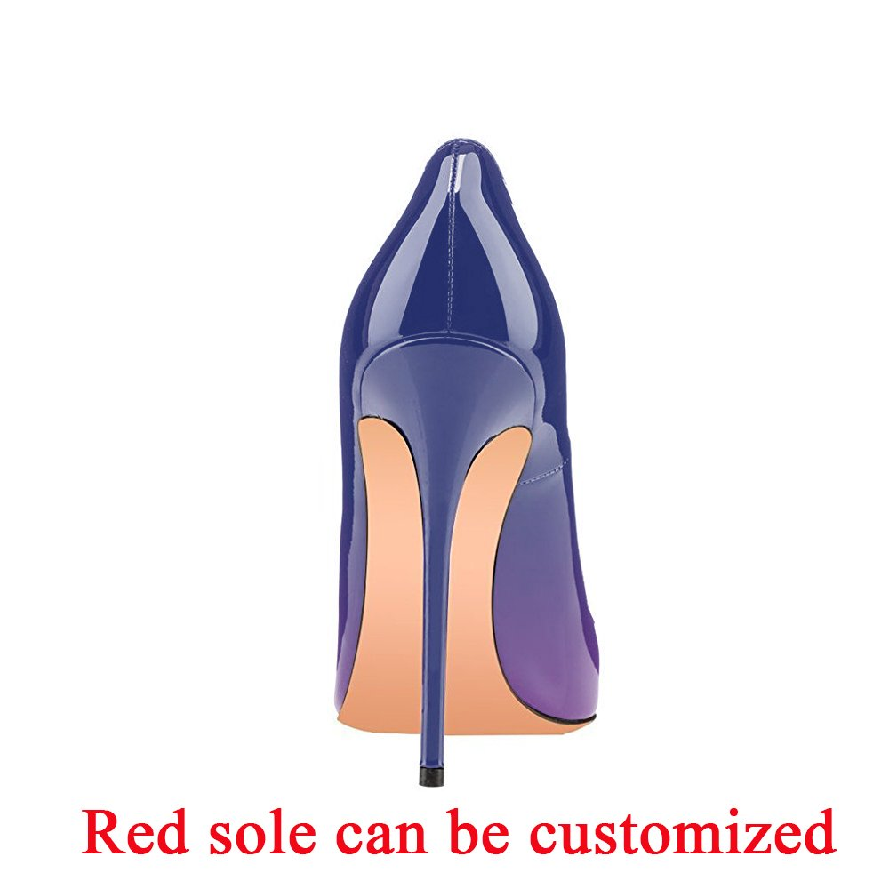 Modemoven Women's Pointy Toe High Heels Slip On Stilettos Large Size Wedding Party Evening Pumps Shoes B06X9V6PPX 11 B(M) US|Gradient Purple