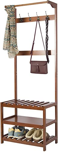 Yaker s Hall Tree Full-Wood, 3-in-1 Design, Coat Rack Shoe Bench with 8 Hooks and 3-Tier Shelves, Easy Assembly Entryway Shoe and Coat Rack for Jackets, Handbags, Coats, Hats, Vintage