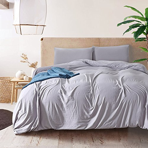 """NuvoLe Home Grey Duvet Cover Set Queen, 3 PCS Bedding Set,Machine Washable, with 4 Corner Ties, 90""""X90""""(Queen Size)"""