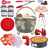 Handua 14 Pcs Instant Pot Accessories Set, Steamer Basket, Spring Form Pan, Egg Rack, Bites Mold, Silicone Mat, Oven Mitts, Kitchen Tongs, Plate Clip, Cheat Sheet Magnets, Steam Diverter, Comp, 5-6-8
