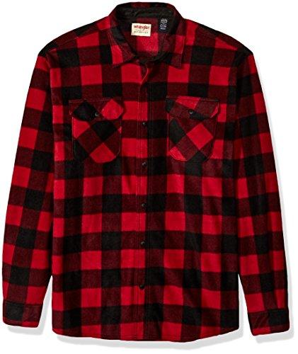 Wrangler Authentics Men's Long Sleeve Plaid Fleece Shirt, Red Buffalo Plaid, XL Tall