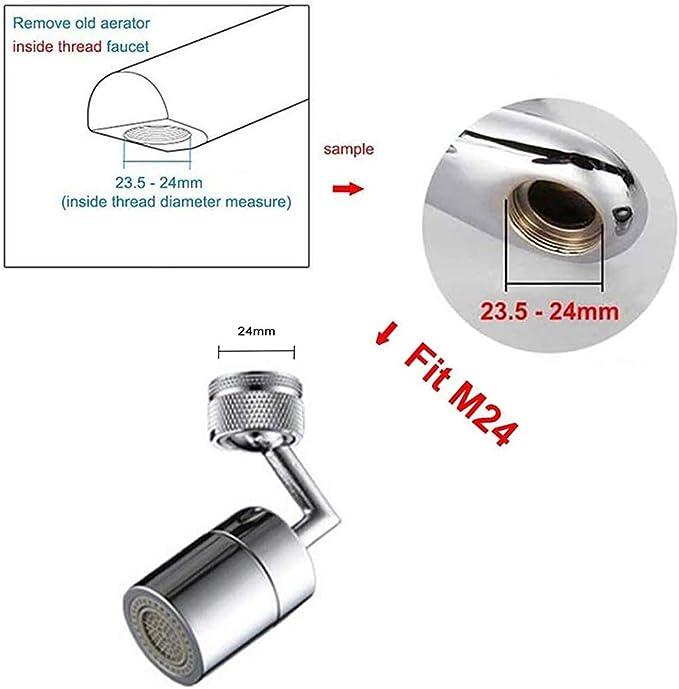 Robinet de filtre anti-/éclaboussures universel filtre en filet /à 4 couches mousse enrichie en oxyg/ène conception /étanche avec double joint torique t/ête de pulv/érisateur de robinet rotative /à 720 /°