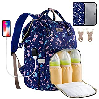 Diaper Backpack Waterproof Baby Nappy Bags Mom Insulated Bottle Pockets ORANIFUL Multi-Functional Large Travel Back Pack Built-in USB Charging Port with Changing Pads and Stroller Straps (Navy)