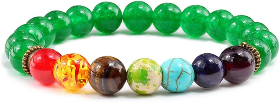 HMKLN Pulseras de Piedra Natural Aventurina Verde Dark Cyan Beads Bangles Healing Balance 7 Chakra Elastic Bangle para Hombres Mujeres