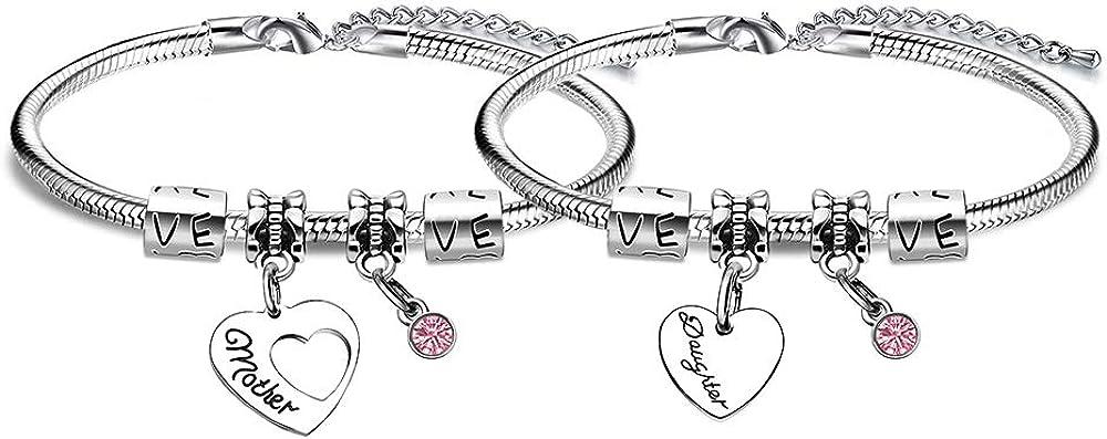 JJIA - Juego de pulseras, con cristal rosa y corazón de cristal, diseño para madre e hija