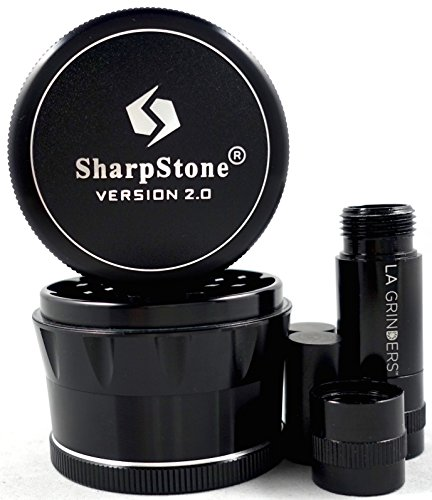 25-Sharpstone-Version-20-Black-4-Piece-Solid-Top-Grinder-with-a-La-Grinders-Pollen-Press